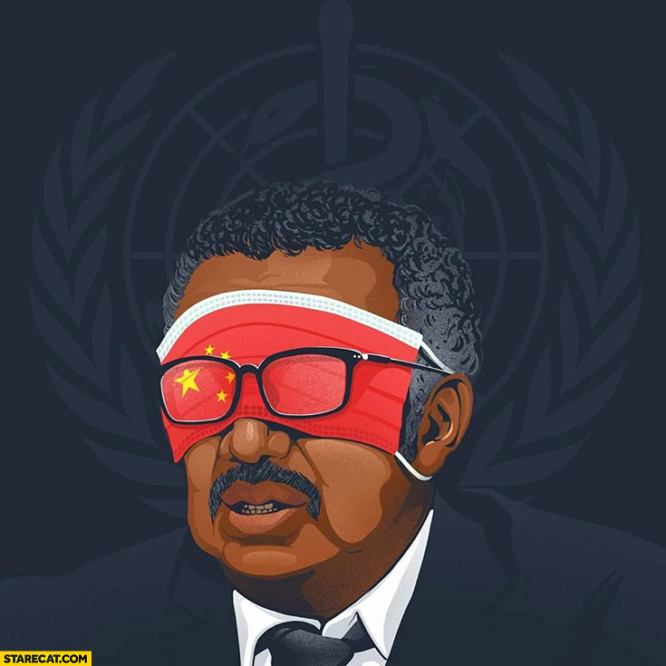 WHO Dedros Adhanom face covered with chinese flag