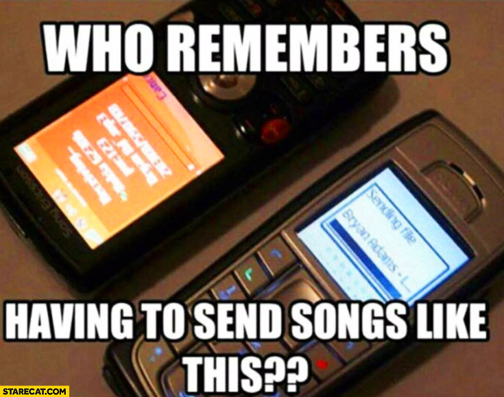 Who remembers having to send songs like this? Phones irda infrared