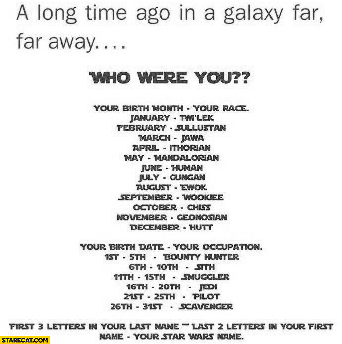 Who were you in Star Wars? First 3 letters in your name