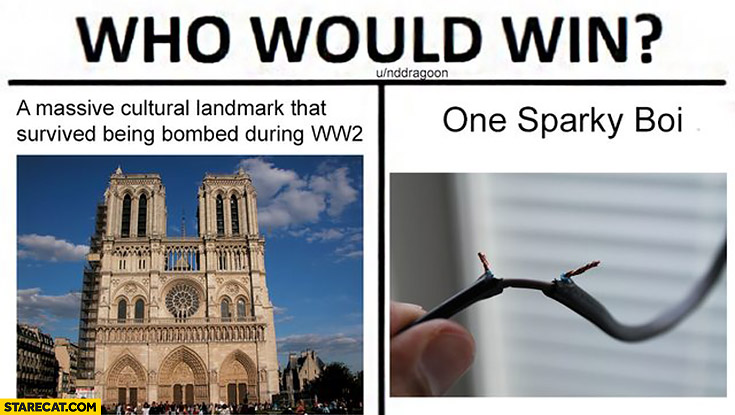 Who would win? Notre Dame vs one sparky boi massive cultural landmark that survived being bombed during WW2