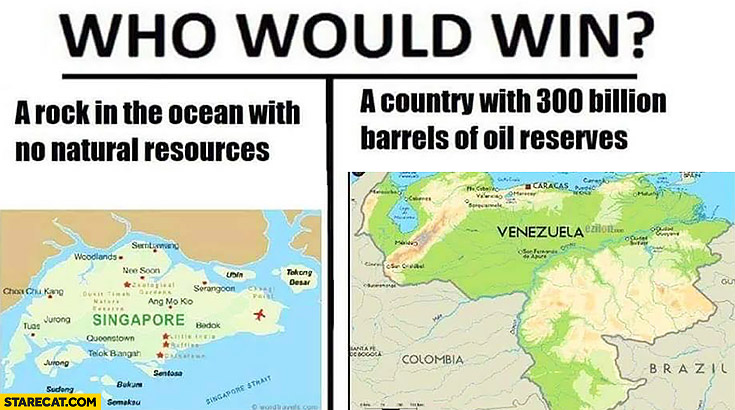 Who would win: Singapore a rock in the ocean with no natural resources or Venezuela a country with 300 billion barrels of oil reserves?