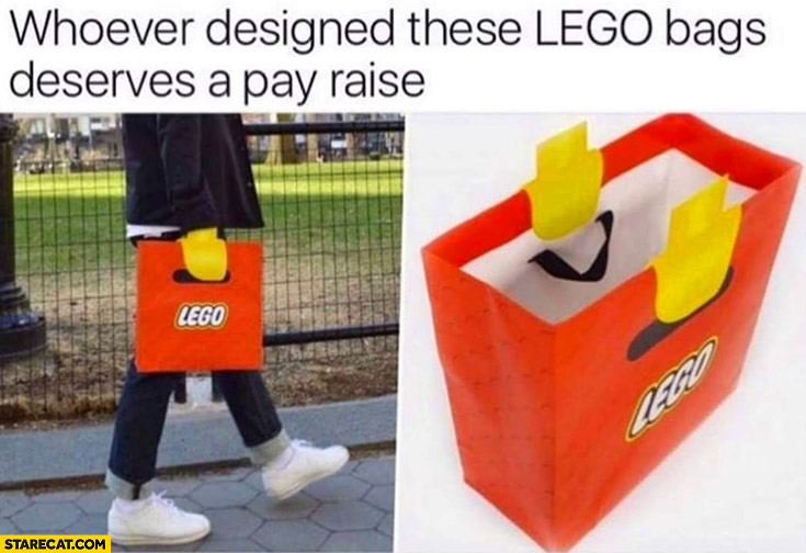 Whoever designed these Lego bags deserves a pay rise looks like Lego carrying it creative