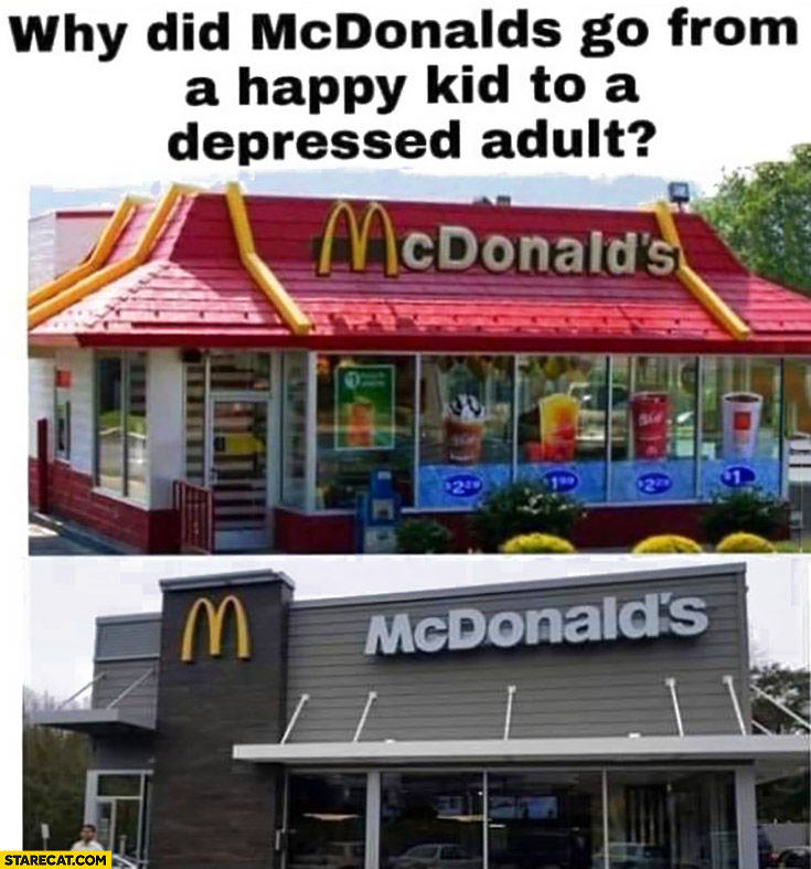 Why did McDonald's go from a happy kid to a depressed adult?