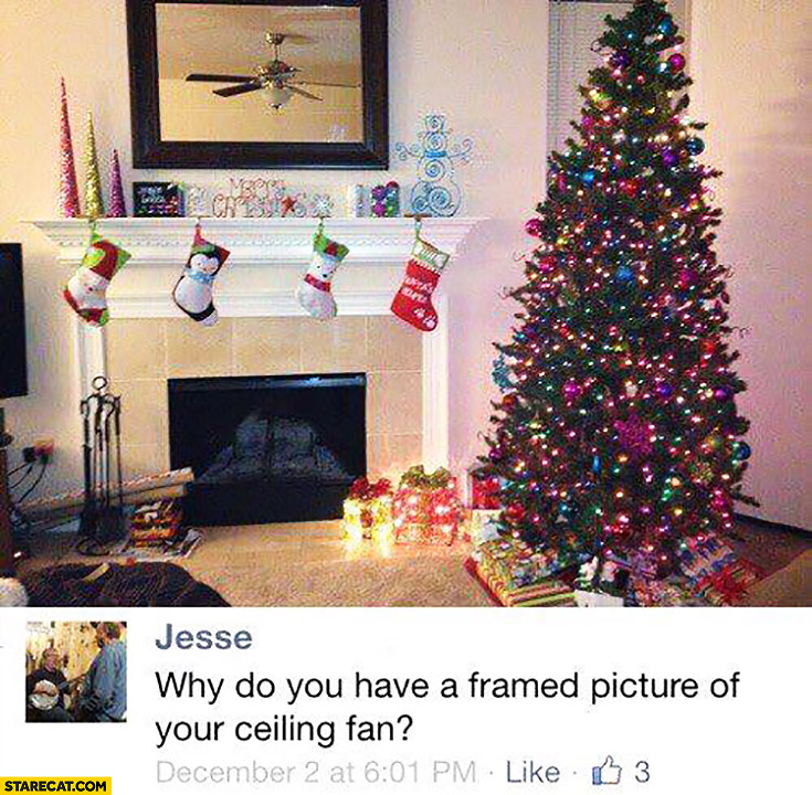 Why do you have a framed picture of your ceiling fan? mirror