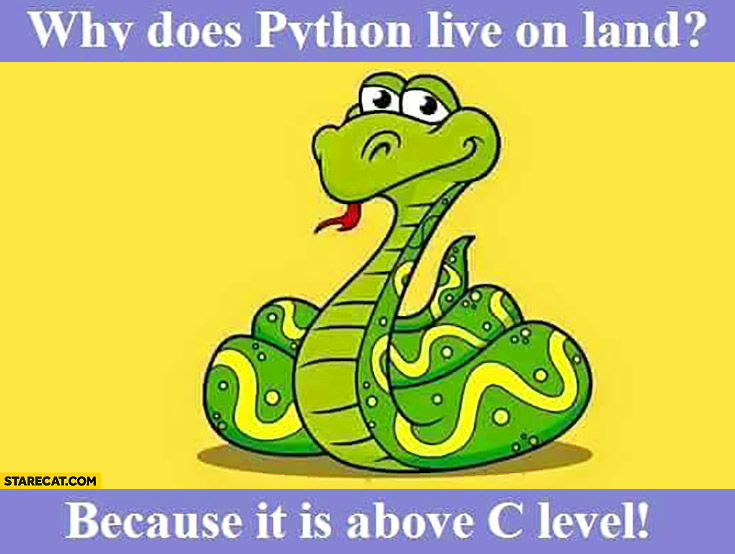 Why does Python live on land? Because it is above C level