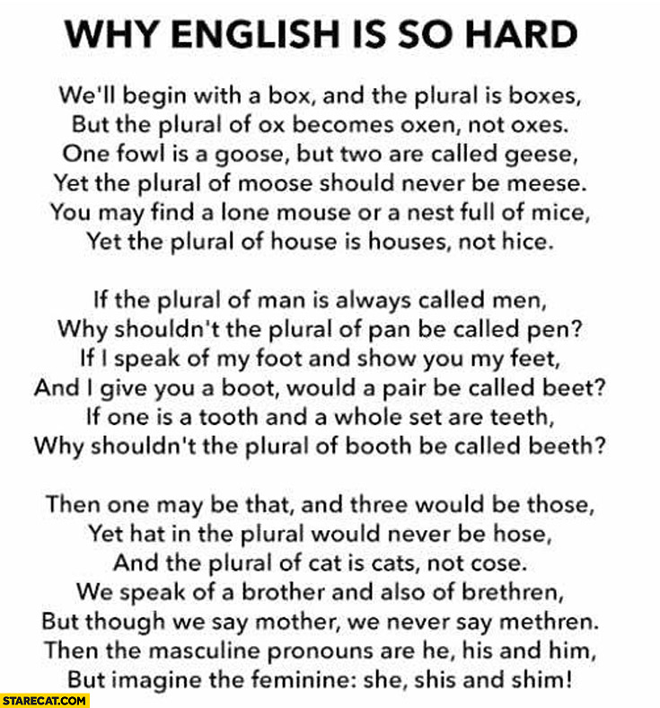 Why English is so hard poem