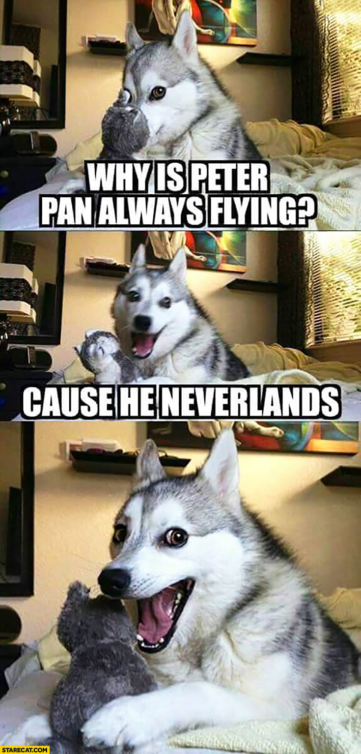 Why is Peter Pan always flying? Cause he Neverlands silly dog
