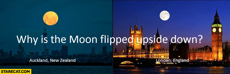 Why is the moon flipped upside down? New Zeland England