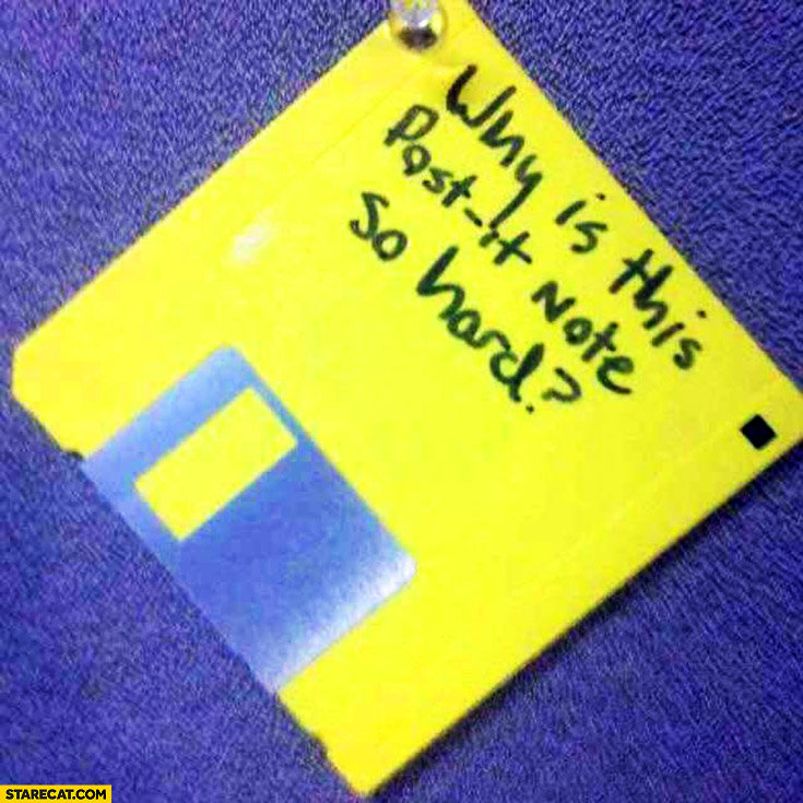 Why is this post-it note so hard? Floppy disk fail