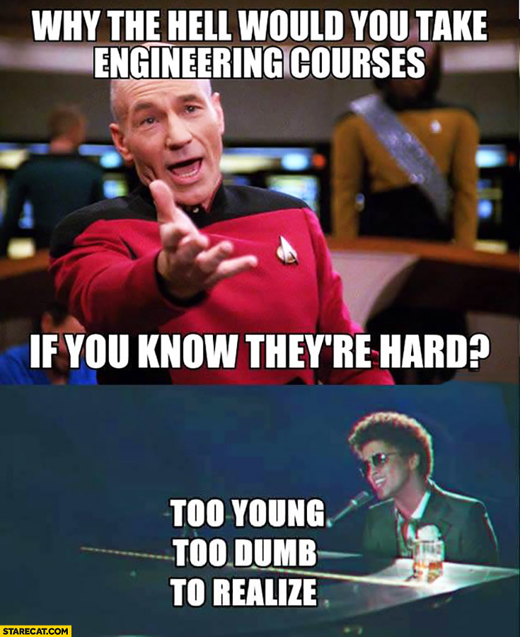 Why the hell would you take engineering courses if you know they're hard? Too young, too dumb to realize