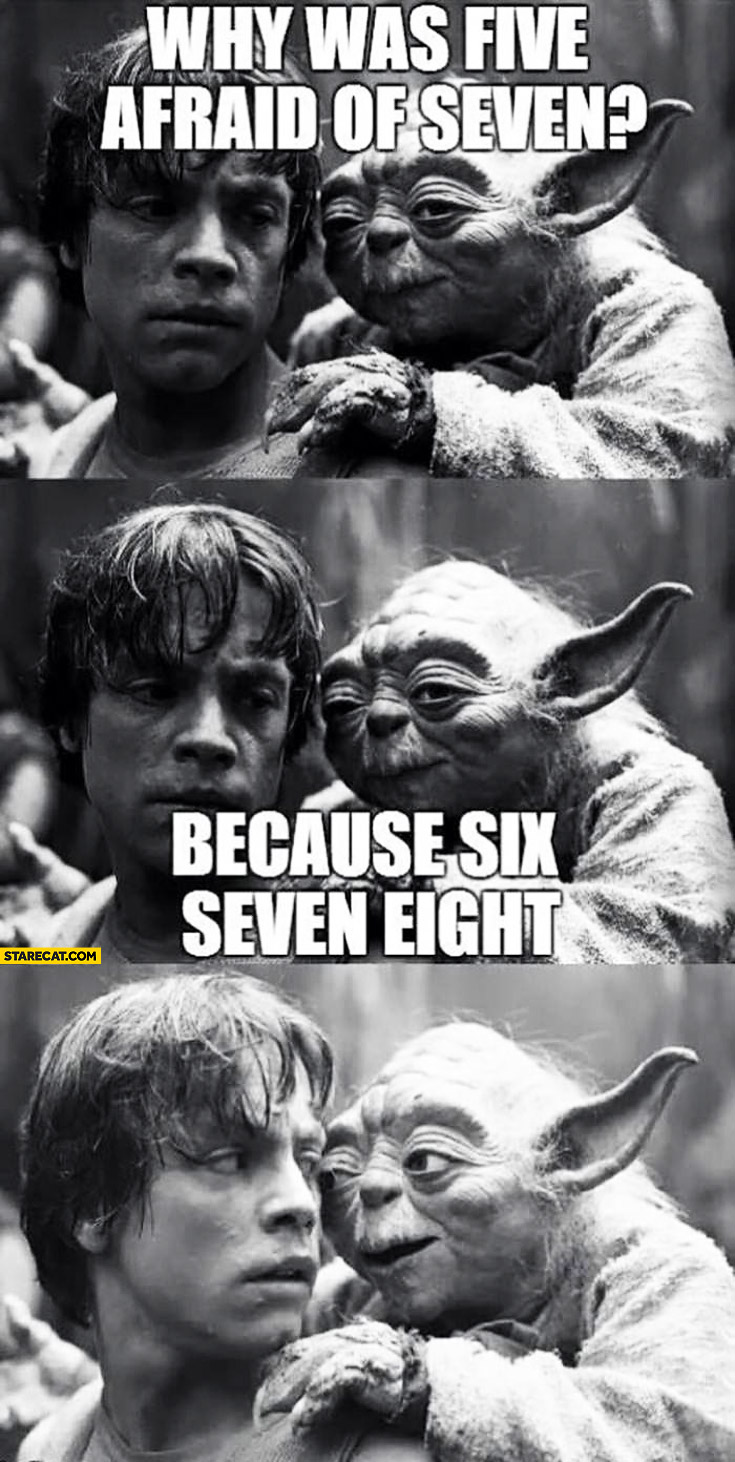 Why was five afraid of seven because six seven eight Yoda Luke