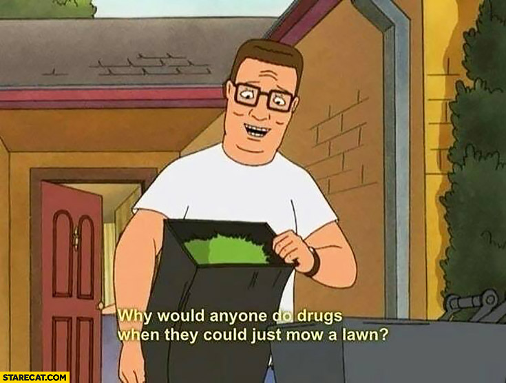 Why would anyone do drugs when they could just mow a lawn?