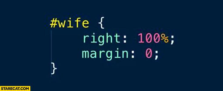 #Wife id CSS: right 100% percent; margin: 0;