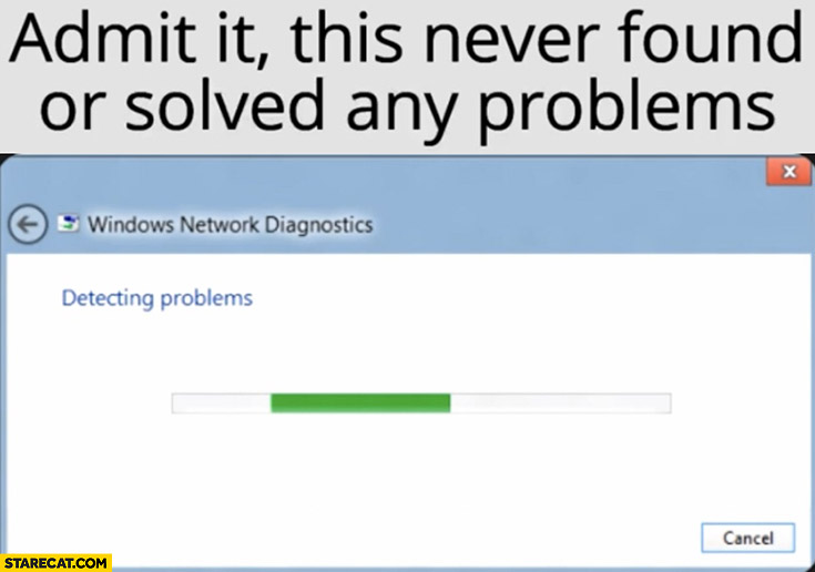 Windows diagnostics, admit it this never found or solved any problems