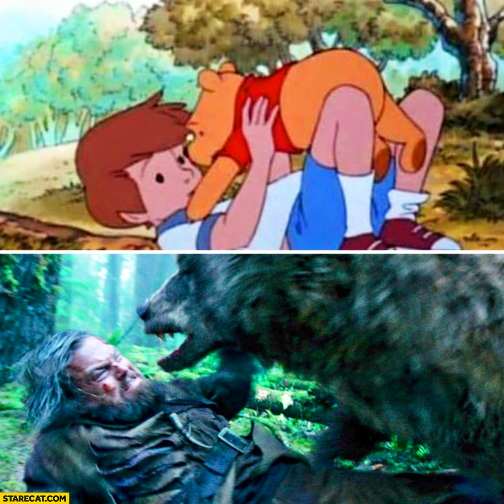 Winnie the Pooh compared to The Tevenant Leonardo DiCaprio bear