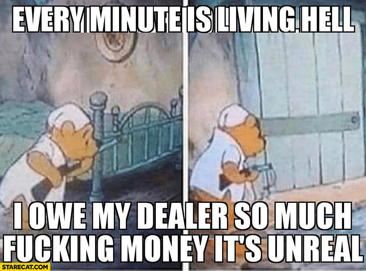 Winnie the Pooh every minute is living hell I owe my dealer so much money it's unreal