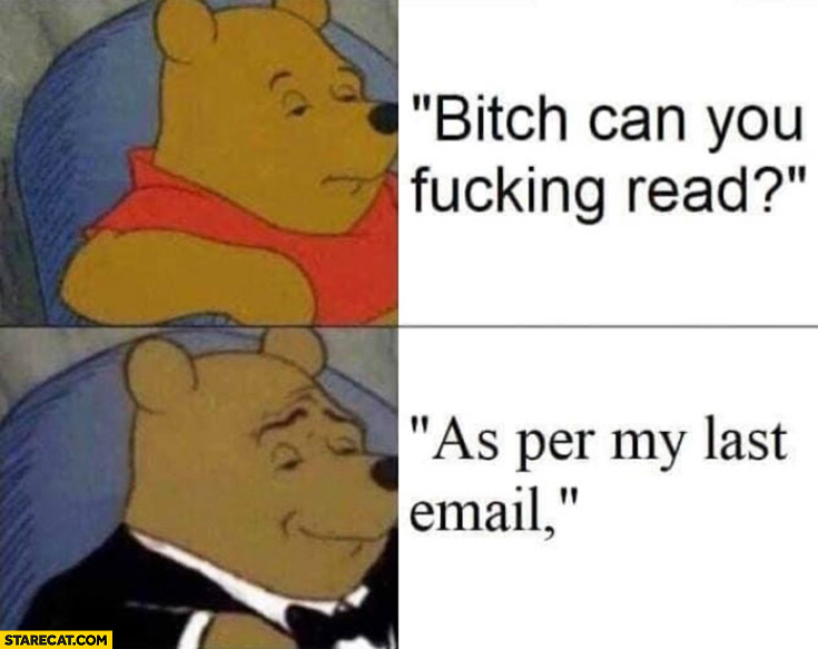 Winnie the Pooh instead of saying bitch can you read writes as per my last email