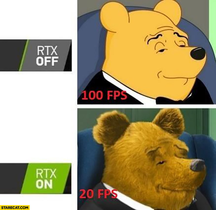 Winnie the Pooh RTX off 100 fps vs RTX on 20 fps