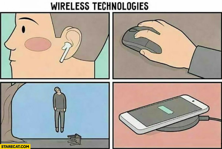 Wireless technologies invisible suicide rope hanging man