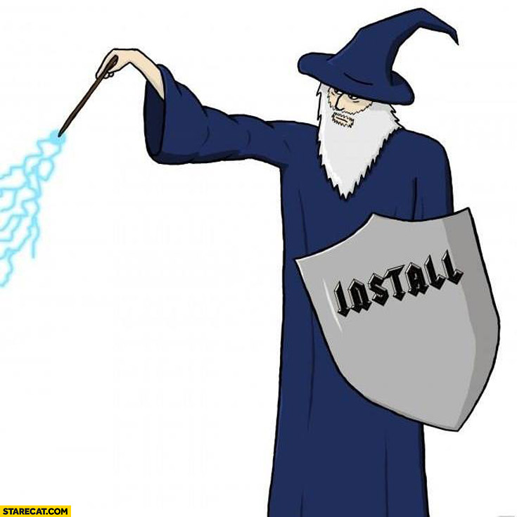 Wizard with install shield drawing