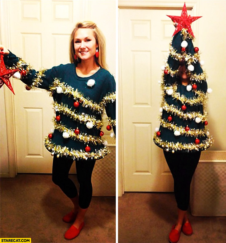 Woman creative Christmas tree costume cosplay