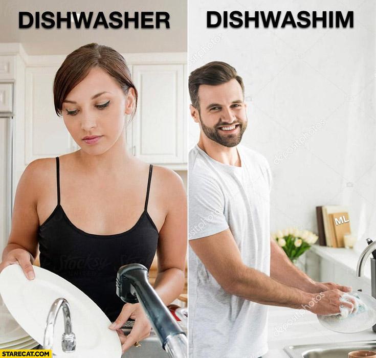 Woman dishwasher man dishwashhim