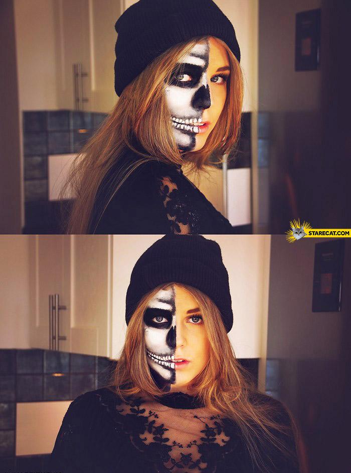 Woman half skeleton makeup