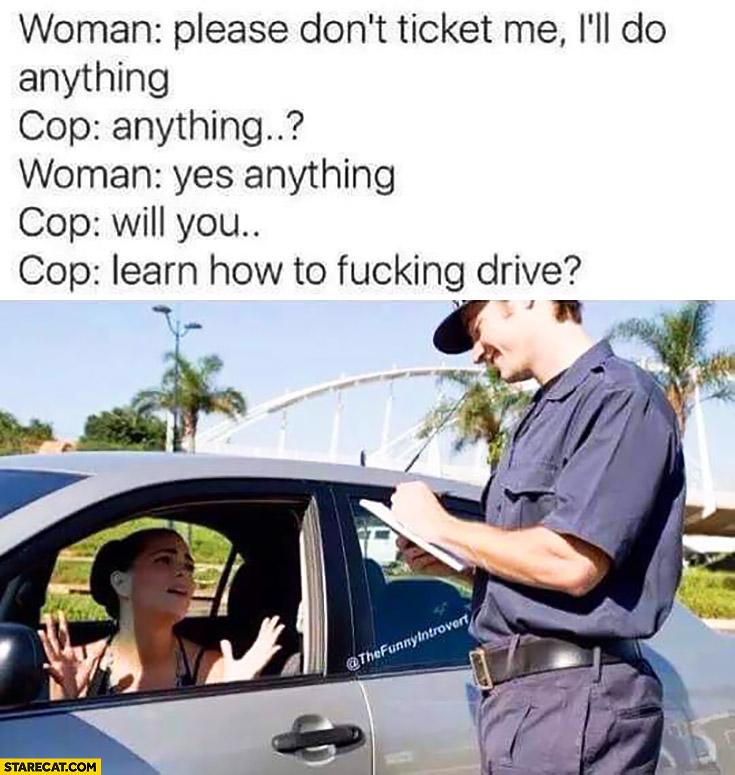 Woman: please don't ticket me, I'll do anything. Cop: will you learn how to drive?