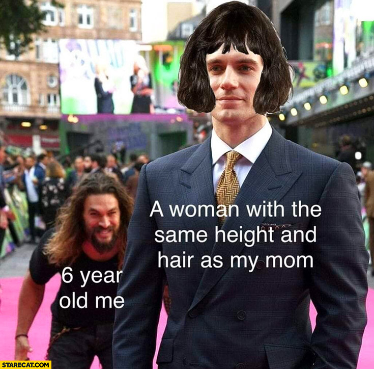Woman with the same height and hair as my mom vs 6 year old me