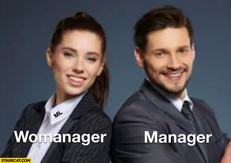 Woman womanager men manager