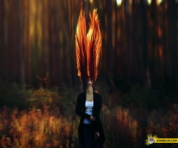 Womans hair like fire flames