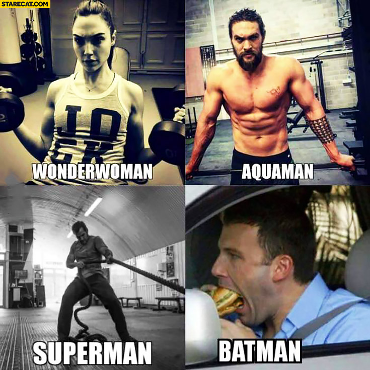 Wonderwoman, Aquaman, Superman training hard while Batman is eating burgers Ben Affleck