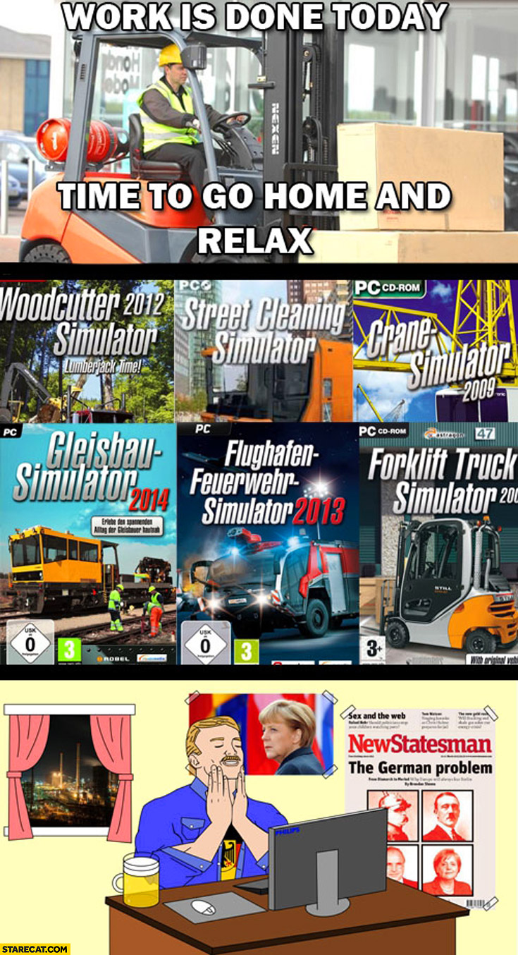 Work is done today time to go home and relax German forklift crane street cleaning simulator