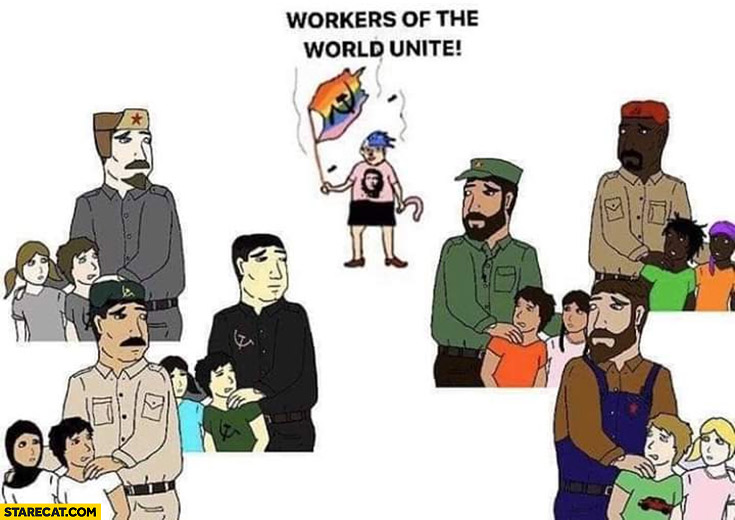 Workers of the world unite leftist communist drawing