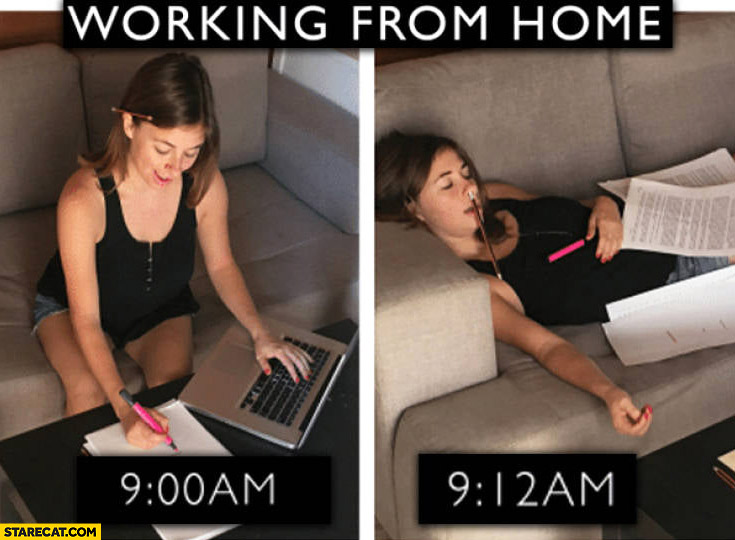 Working from home 9 AM working, 9:12 AM sleeping already