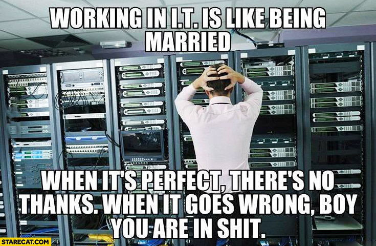 Working in IT is like being married when it's perfect there's no thanks, when it goes wrong boy you are in shit