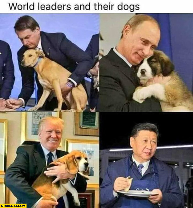 World leaders and their dog Xi Jingping eating a dog