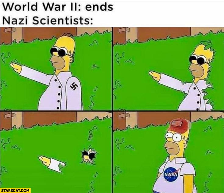 World War II ends nazi scientist start working at NASA Homer Simpson
