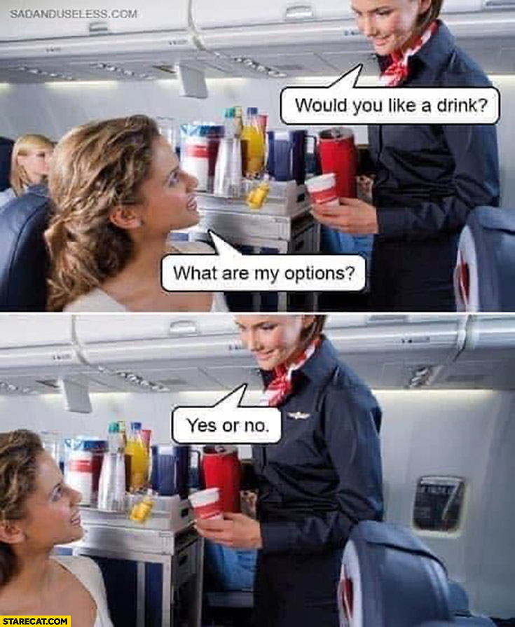 Would you like a drink what are my options yes or no stewardess airplane literally