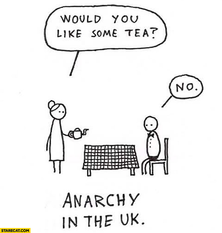 Would you like some tea? No. Anarchy in the UK
