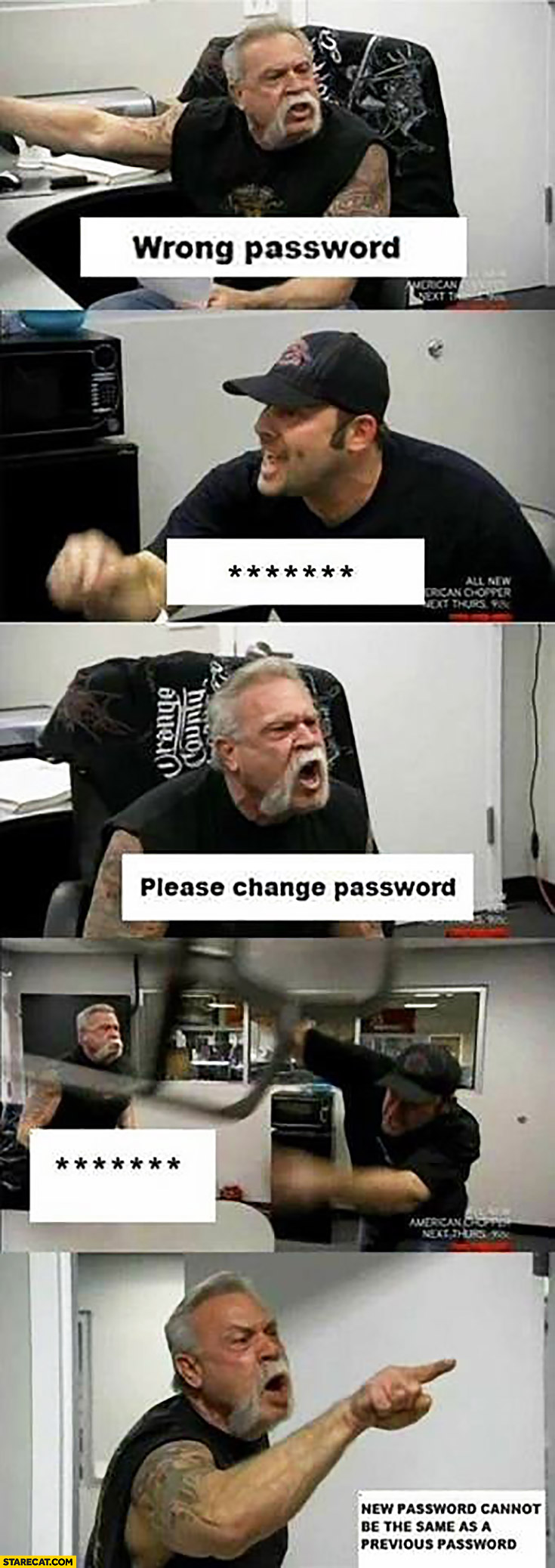 Wrong password, please change password, new password cannot be the same as a previous password meme
