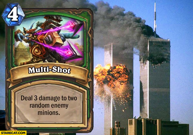 WTC nine eleven hearthstone card multishot deal 3 damage to two random enemy minions