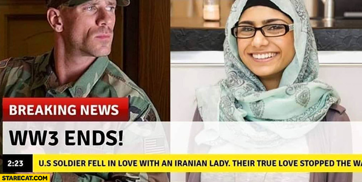 WW3 ends us soldier fell in love with Iranian lady Johnny Sins Mia Khalifa World War 3 breaking news