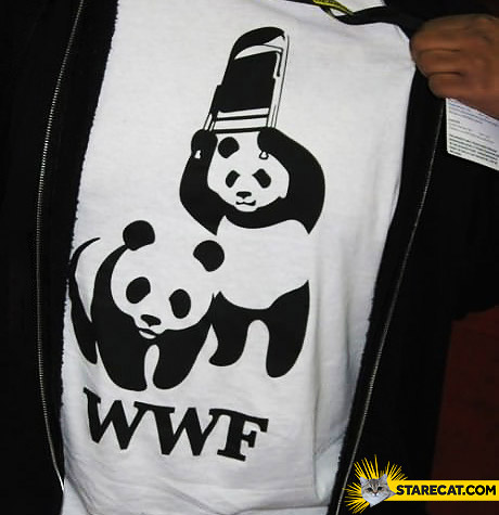 WWF creative t-shirt pandas hitting with a chair