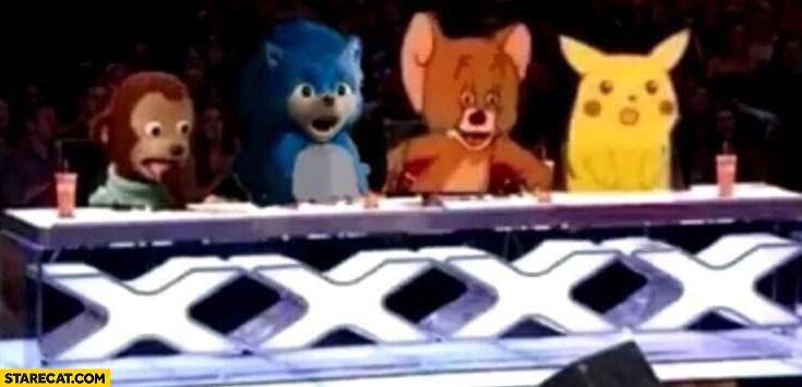 X-factor jury meme characters pikachu mouse sonic