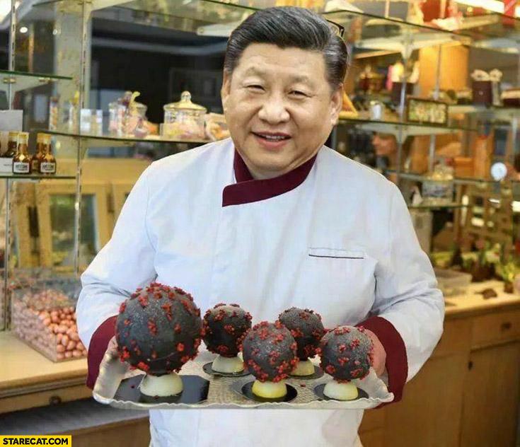 Xi Jingping baked coronavirus cookies