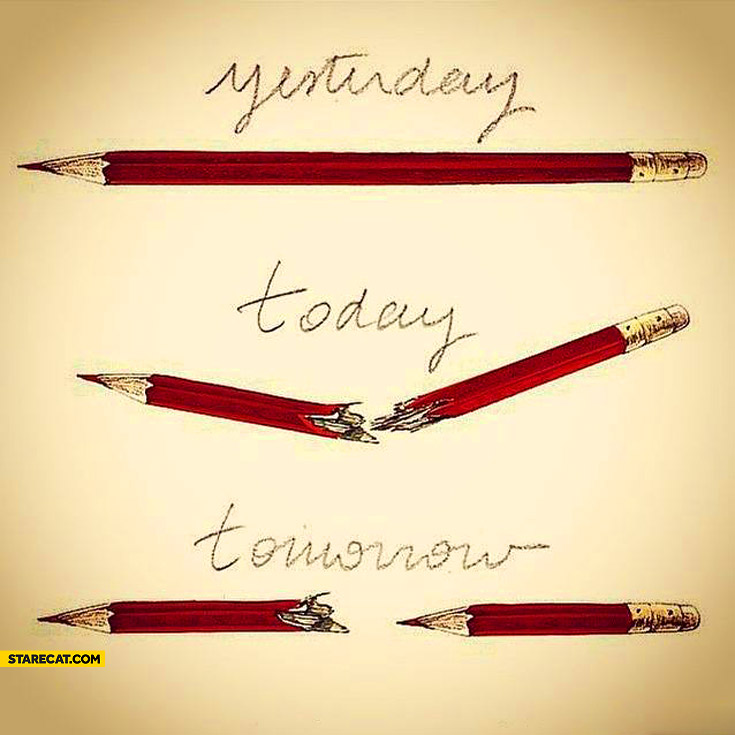 Yesterday today tomorrow pencil