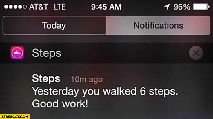 Yesterday you walked 6 steps, good work! iOS iPhone steps app