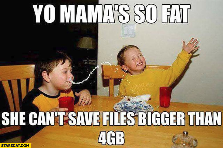 Yo mama is so fat she can't save files bigger than 4GB