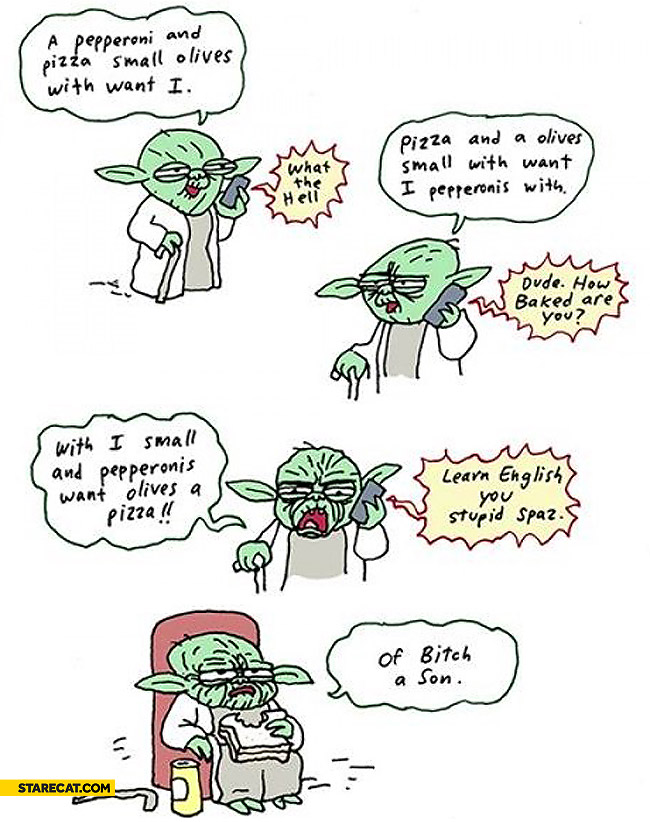 Yoda ordering pizza
